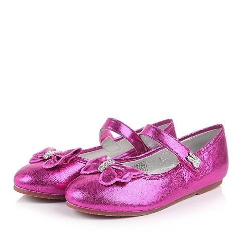 MIFFY/米菲童鞋春季新款PU桃红女中童皮鞋DM0286