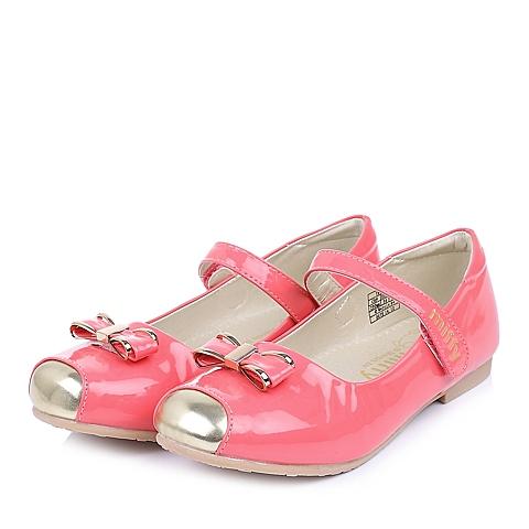 MIFFY/米菲童鞋春季新款PU浅红女中童皮鞋DM0292