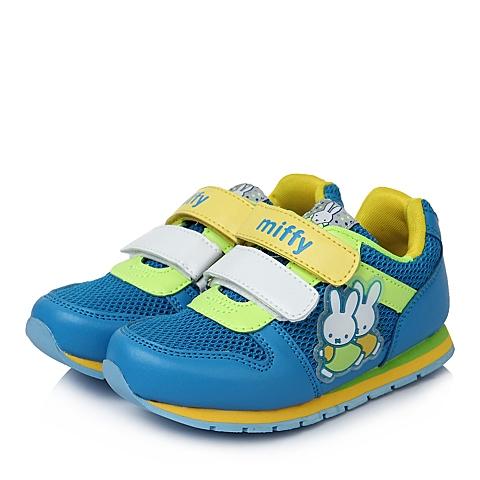 MIFFY/米菲童鞋春季新款PU/织物蓝色男小童运动鞋DM0324