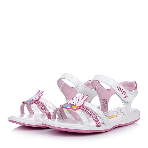 MIFFY/米菲童鞋2015年夏季新款PU革白色女小童时尚凉鞋DM0387
