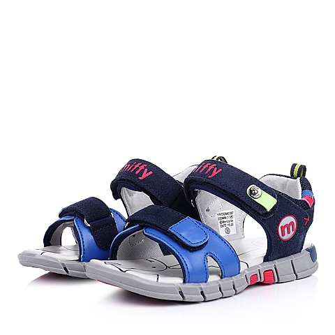 MIFFY/米菲童鞋2015夏季反毛皮/PU蓝色男中童沙滩凉鞋DM0367