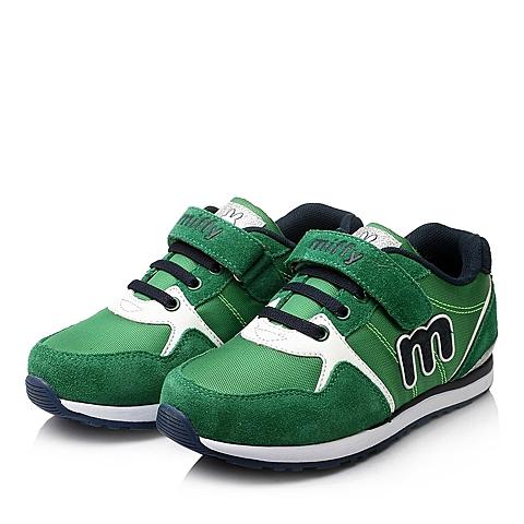 MIFFY/米菲童鞋2015秋季新品绿色反毛皮/PU男中童跑步鞋DM0437