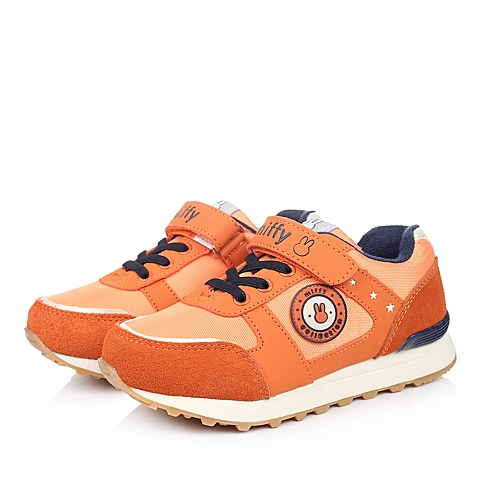 MIFFY/米菲冬季橙色反毛皮/PU/织物男小中童跑步鞋DM0524