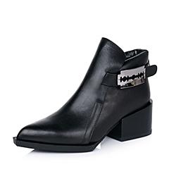 Millie's/妙丽秋季专柜同款黑色打蜡牛皮女及踝靴LB440CD5