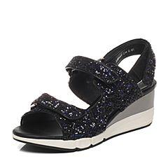 Millie's/妙丽夏专柜同款黑色亮片布女凉鞋LG201BL6