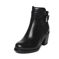 millie's/妙丽冬季专柜同款牛皮时尚皮带扣高跟女短靴LQE59DD6