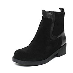 millie's/妙丽冬季专柜同款黑色牛皮女皮靴LCC49DD6