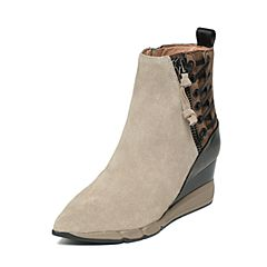 millie's/妙丽冬季专柜同款灰/啡色牛皮女皮靴LB941DD6