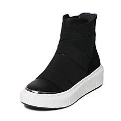 millie's/妙丽冬季专柜同款牛皮/羊绒拼接厚底休闲女短靴LE641DD6