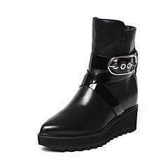 millie's/妙丽冬季专柜同款牛皮厚底坡跟时尚女中靴LJ660DZ6