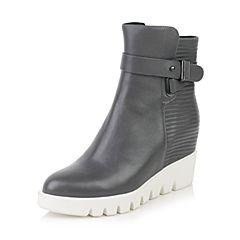 millie's/妙丽冬季专柜同款牛皮时尚个性坡跟女中靴P5304DZ6