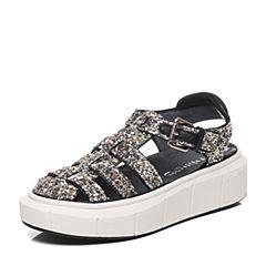 Millie's/妙丽夏款专柜同款亮片布女凉鞋LE601BL6