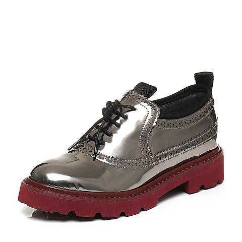 millie's/妙丽秋季专柜同款英伦风漆皮休闲女单鞋LWS29CM6