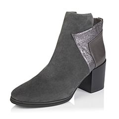 millie's/妙丽冬专柜同款羊皮/牛皮粗跟女短靴(皮里)LD640DD6