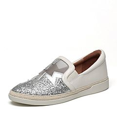 millie's/妙丽春专柜同款牛皮亮片布镂空平底女休闲鞋LF332AM7