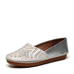 millie's/妙丽2017春季专柜同款牛皮铆钉时尚平底女单鞋LWV53AM7