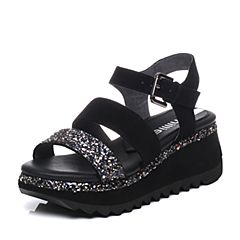 millie's/妙丽夏季专柜同款羊皮亮片女凉鞋LH507BL7