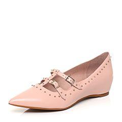 millie's/妙丽春季新款羊皮铆钉玛丽珍低跟女单鞋LF712AQ7