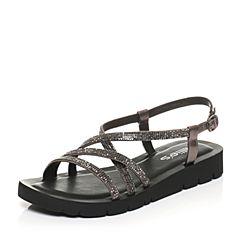 millie's/妙丽夏季专柜同款牛皮时尚平底女凉鞋17027BL7