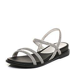 millie's/妙丽夏季专柜同款水钻平底女凉鞋16158BL7