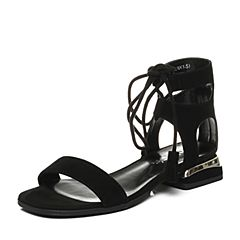 millie's/妙丽夏季专柜同款羊绒绑带方跟女凉鞋81353BL7