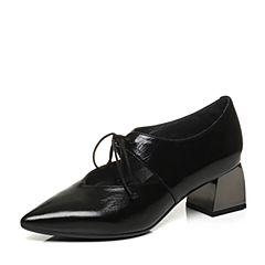 Millie's/妙丽2017秋专柜同款牛皮交叉绑带方跟女单鞋LH720CM7