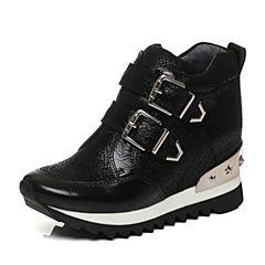 millie's/妙丽2017秋专柜同款牛皮铆钉内增高女休闲鞋LWD33CM7