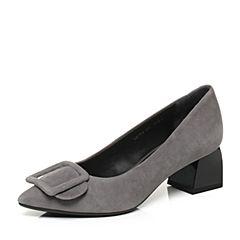 millie's/妙丽秋季专柜同款羊绒方扣中跟女浅口单鞋LH712CQ7