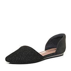Millie's/妙丽2017秋专柜同款羊皮亮线布浅口单鞋女凉鞋LZM34CK7