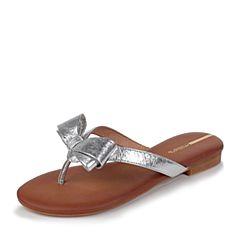 millie's/妙丽夏季新款牛皮蝴蝶结夹趾平底女凉拖鞋LLR53BT7(领红包更优惠)