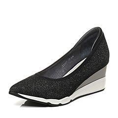 millie's/妙丽2017秋季新款牛皮亮线布坡跟女浅口单鞋LB917CQ7