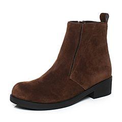 millie's/妙丽冬季专柜同款牛皮绒面时尚方跟女短靴LCC53DD7