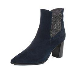 millie's/妙丽冬季专柜同款羊绒亮布拼接粗跟女短靴LH644DD7