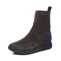 millie's/妙丽冬季专柜同款羊绒拼接时尚休闲短靴LL140DD7