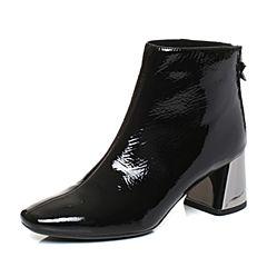 millie's/妙丽冬季专柜同款漆牛皮时尚粗跟女短靴LP243DD7