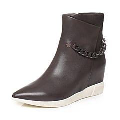 millie's/妙丽冬季专柜同款羊皮时尚坡跟女短靴LR741DD7