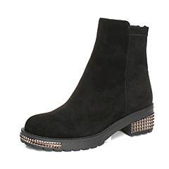 millie's/妙丽冬季专柜同款羊绒绒布暴时尚休闲女短靴LXF56DD7