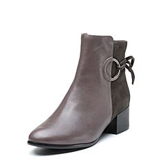millie's/妙丽冬季专柜同款羊皮拼接时尚方跟女短靴LQ840DD7