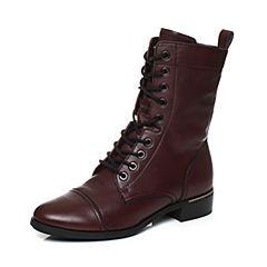 millie's/妙丽冬季专柜同款牛皮时尚休闲女中靴LR361DZ7