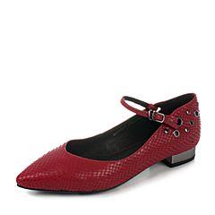 millie's/妙丽秋季新款红色蛇纹牛皮方跟女单鞋33021CQ7