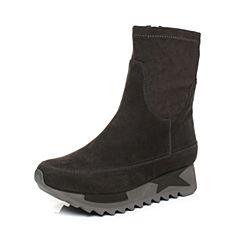 millie's/妙丽冬季新款羊绒弹力布时尚休闲女中靴LL760DZ7