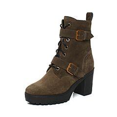 millie's/妙丽冬季新款牛皮时尚马丁靴粗跟女短靴LK247DD7
