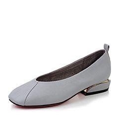 millie's/妙丽秋季新款灰色牛皮方跟女单鞋D9292CQ7