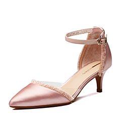 millie's/妙丽2018春专柜同款沙丁布面时尚高跟女凉鞋LT305AK8