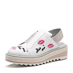 millie's/妙丽2018春专柜同款牛皮时尚刺绣厚底女凉鞋LYG02AH8