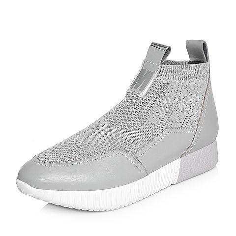 millie's/妙丽2018春专柜同款牛皮针织帮面时尚女休闲鞋LT521AM8