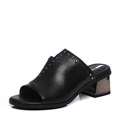 millie's/妙丽2018夏专柜同款牛皮时尚粗跟女凉拖鞋LN411BT8