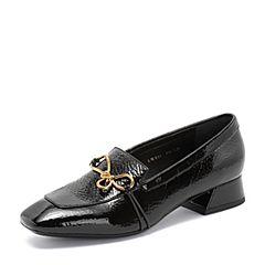millie's/妙丽2018秋专柜同款漆牛皮复古方跟女单鞋LW821CM8