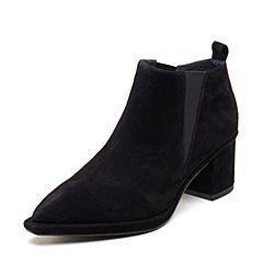 millie's/妙丽2018秋专柜同款羊绒及踝靴粗跟女单鞋LW221CM8