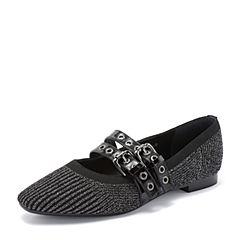 millie's/妙丽2018秋专柜同款编织布面皮带扣方跟女单鞋LS811CM8